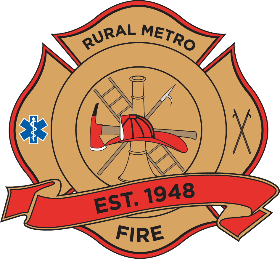 Rural Metro logo depicting fire helmet and fireman tools