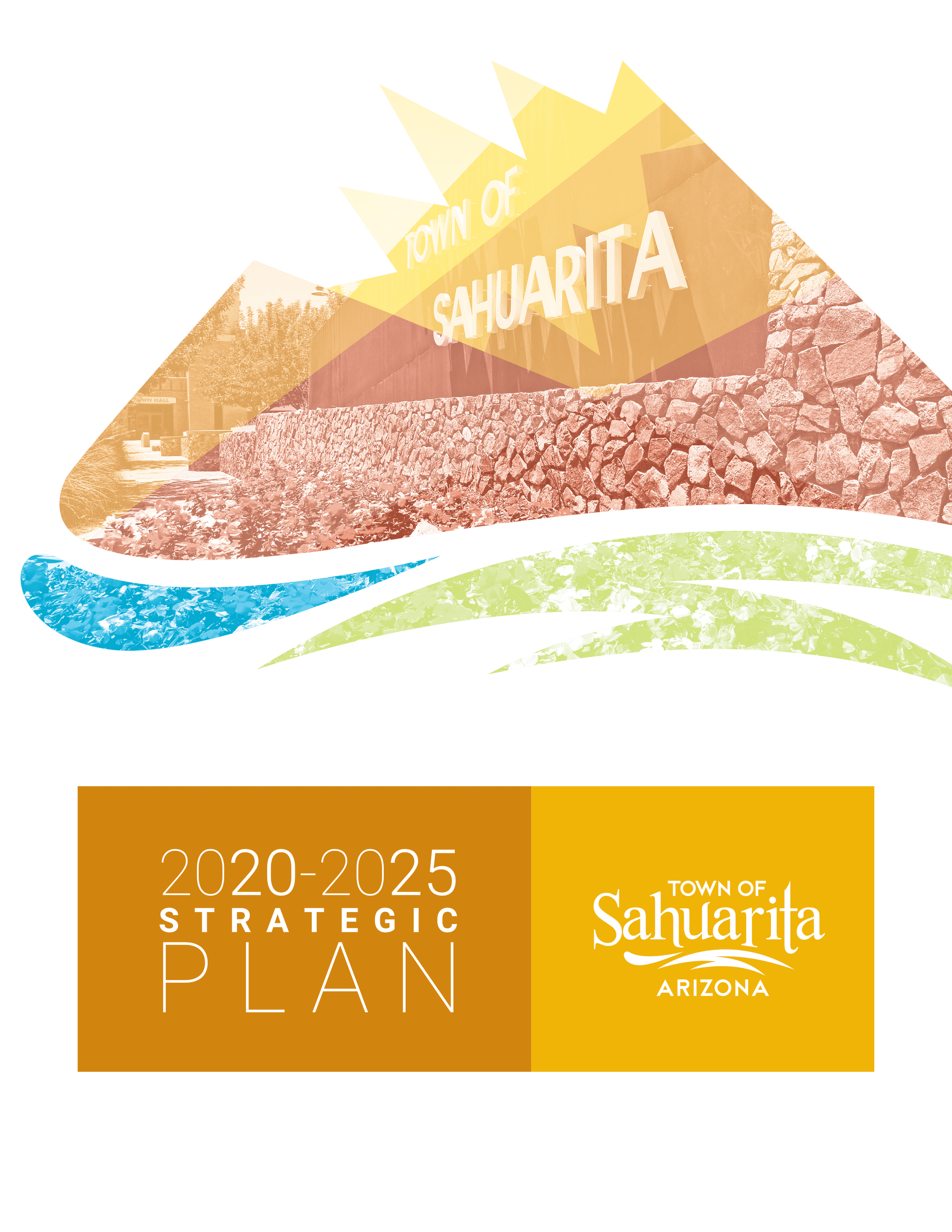 semi opaque mountain logo with town hall sundial faded into background; 2020-2025 strategic plan tow