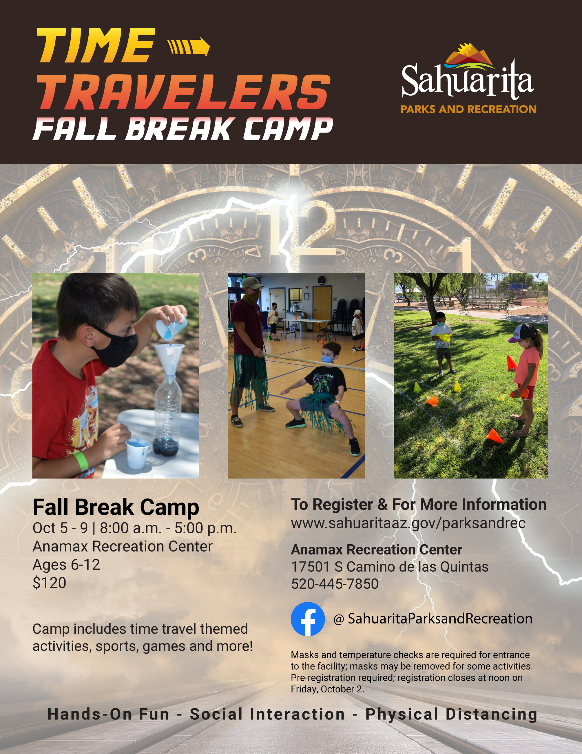 Time Travelers Fall Break Camp. October fifth through ninth from eight a.m. to five p.m.